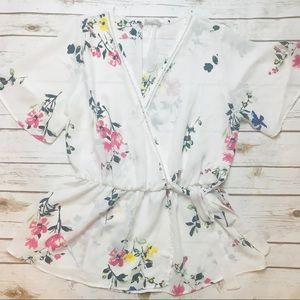 Sienna Sky White Spring Floral Peplum Top